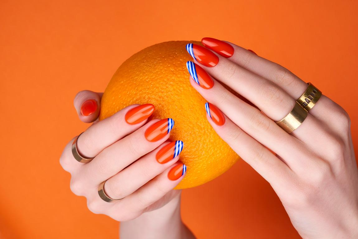 Sicilian Orange Santorini Indigo Nails