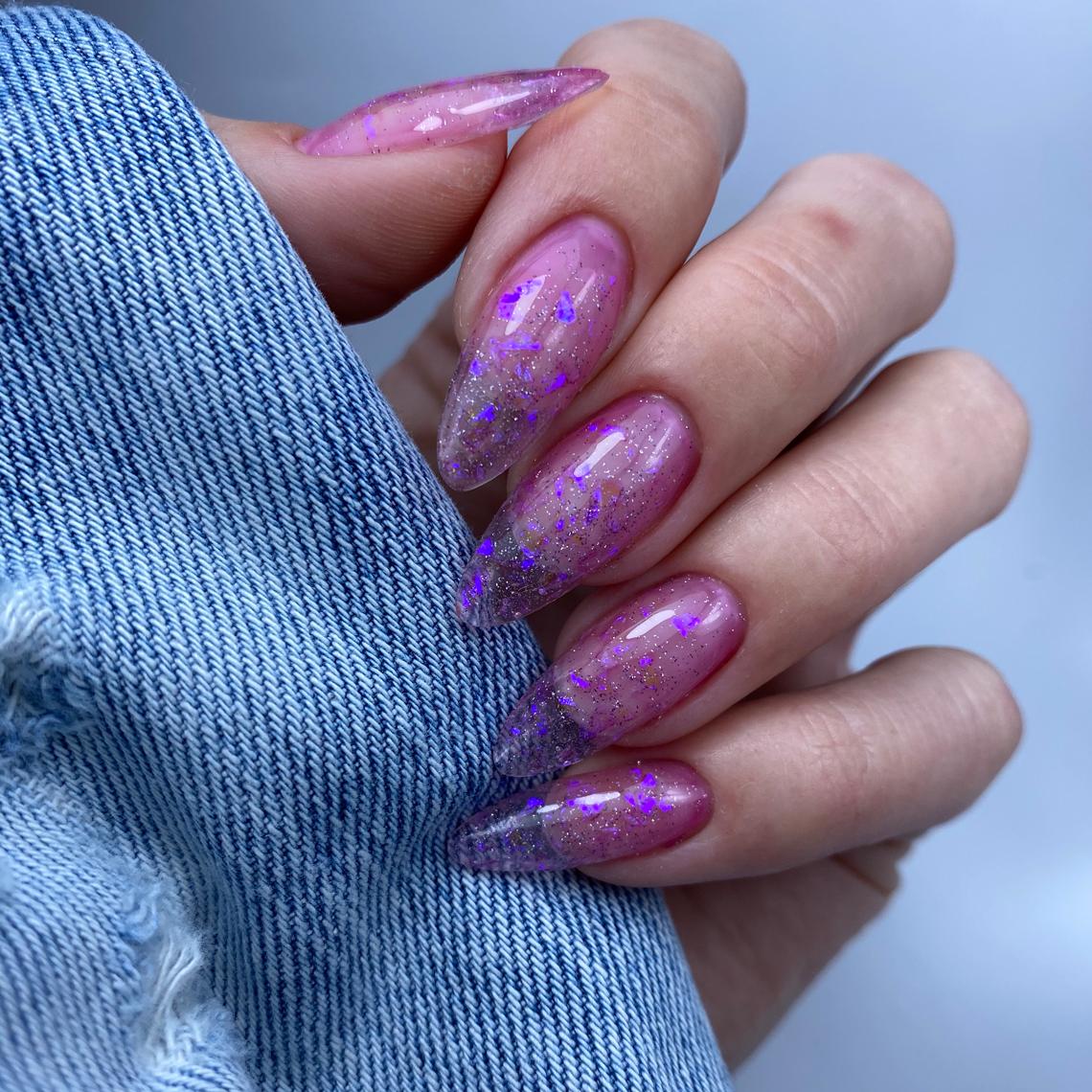 Builder Clear | Snowflakes 2 Violet Sparkle - Folia Cięta | Efekt Holo | Tip Top Top Coat | Eureka! Gel Polish