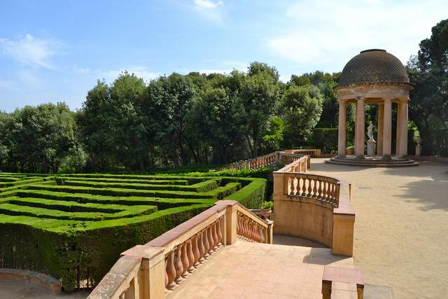 Parc del Laberint d'Horta, sierpień w Barcelonie